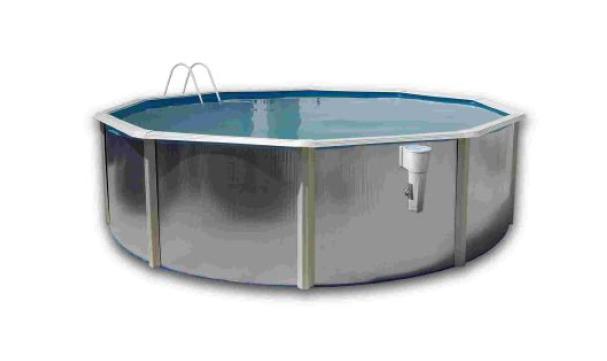 piscina fuori terra in acciaio con profili bianchi