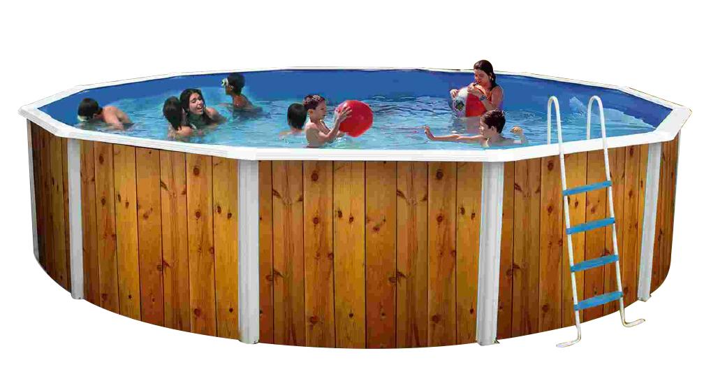 piscina fuori terra decorata in acciaio