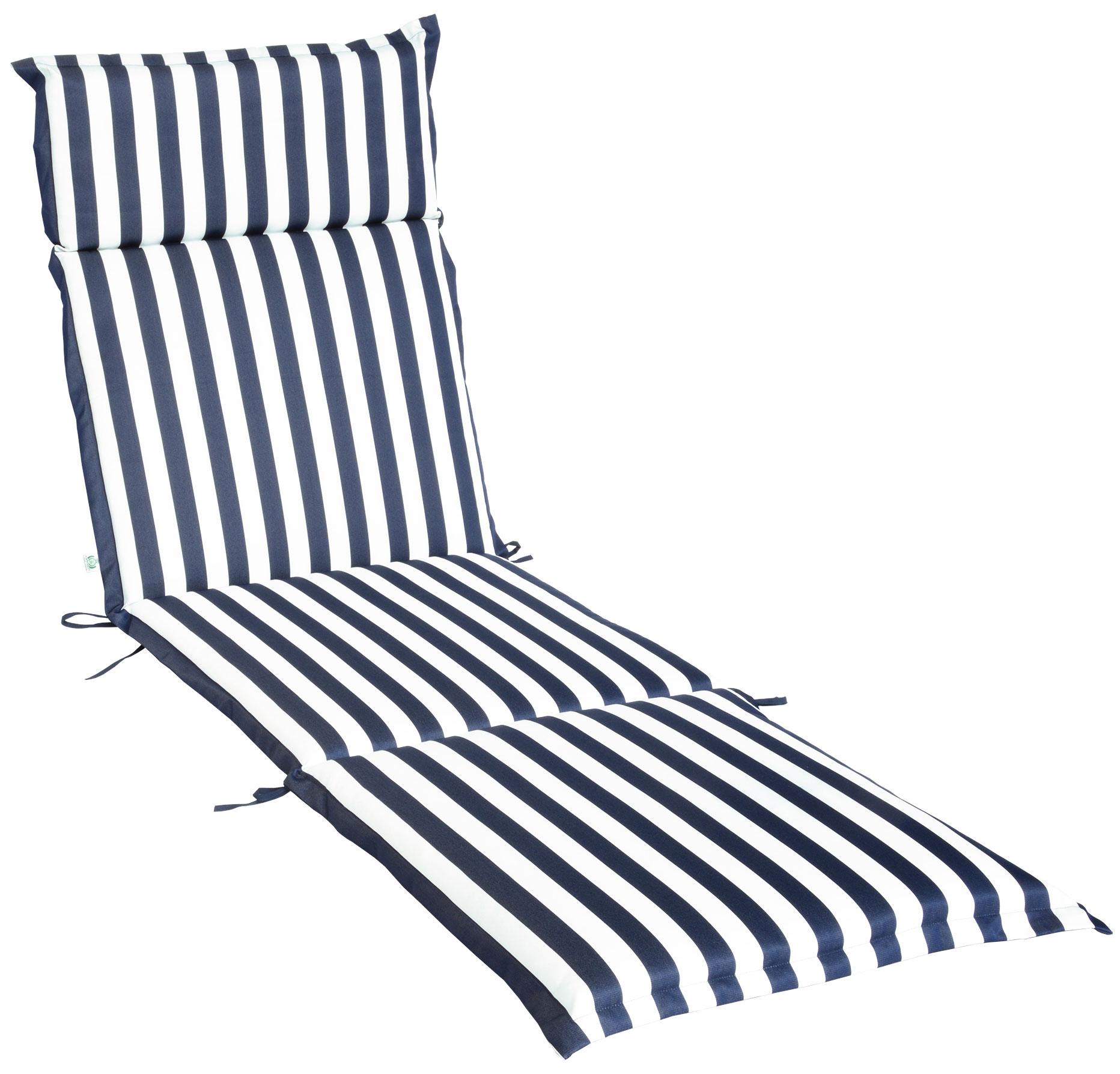 Cuscino per lettino prendisole 196x58 cm con volant ONDA BLU