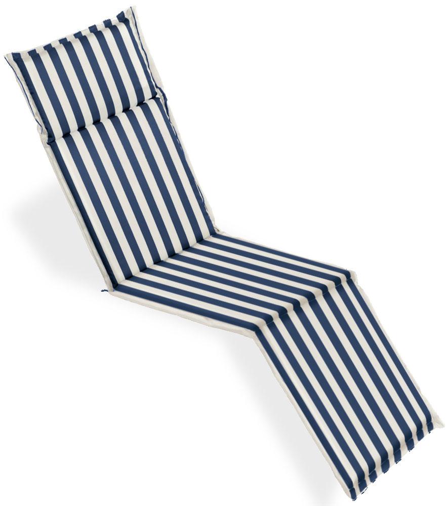 Cuscino per deckchair 184x46 cm con volant ONDA BLU