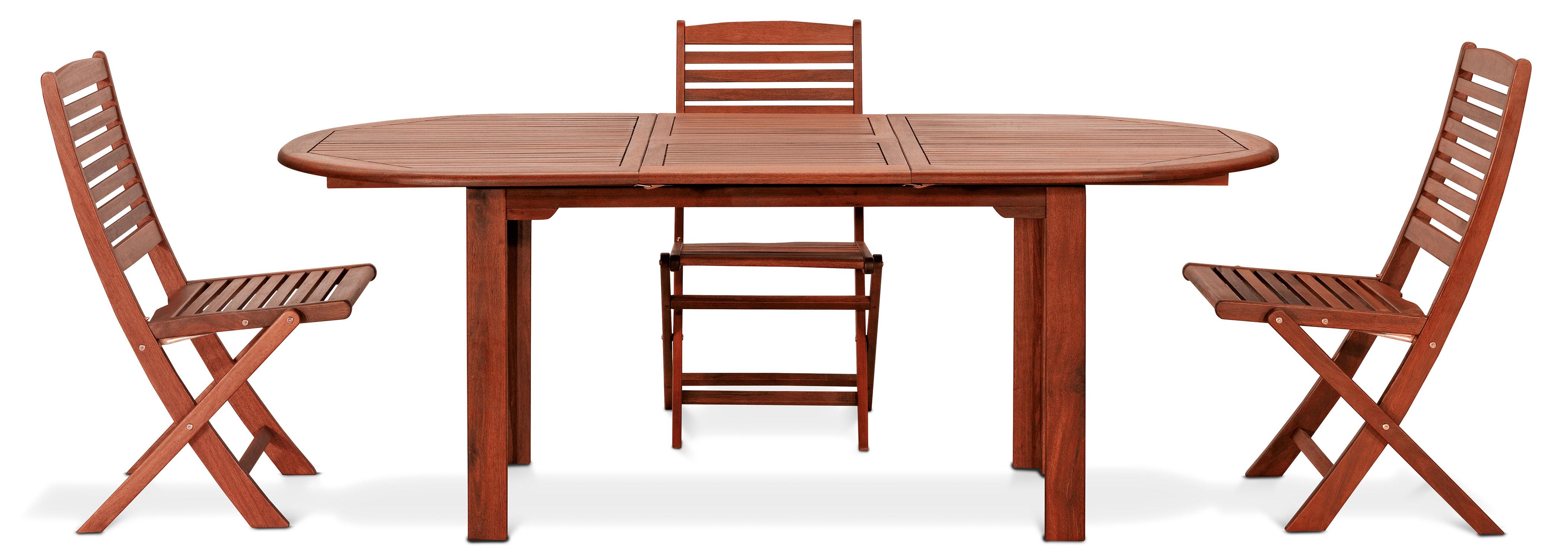 Tavolo in legno keruing PEONIA, ovale e allungabile