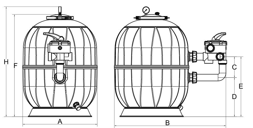 Dimensioni filtro a sabbia AQUARIUS con valvola laterale