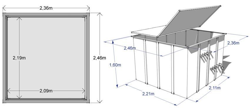 DImensioni locale tecnicoAtlantis per  piscina