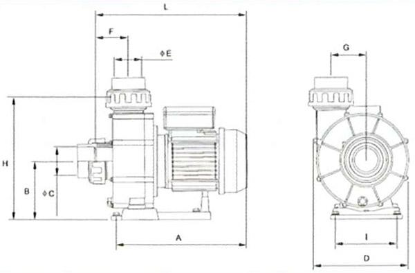 Schema Pompa piscina per filtrazione ENGLAND 2200 per nuoto contro corrente - 3 HP, Raccordi 7,50 cm