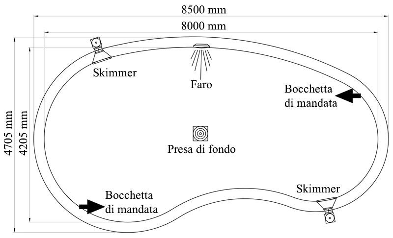 disegno tecnico Piscina interrata in casseri di polistirolo