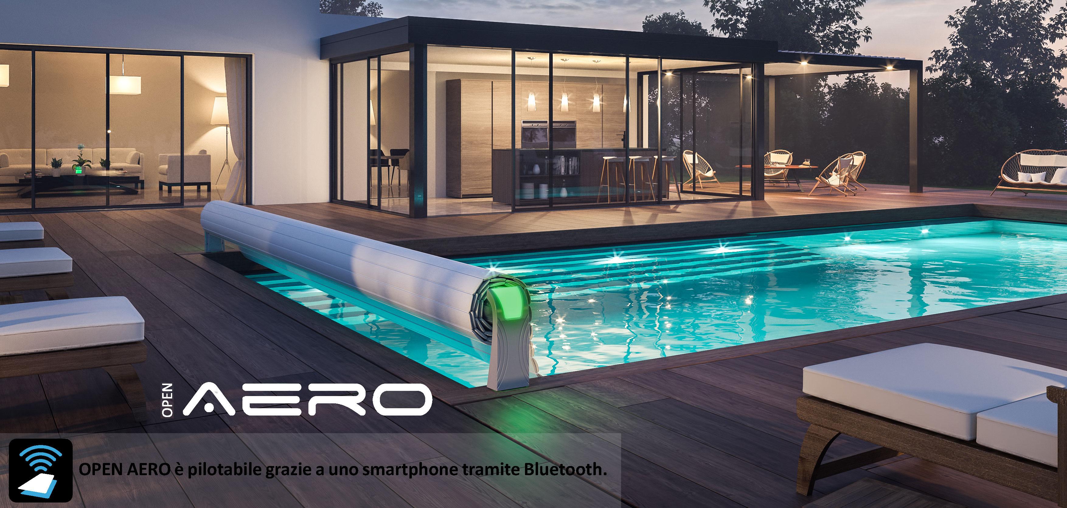 Copertura a tapparelle OPEN AERO di sicurezza con Wi-Fi per piscine