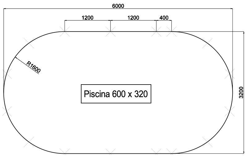 Dimensioni Piscina interrata OLIVIA 600 - 6,00 x 3,20 x h 1,20 m
