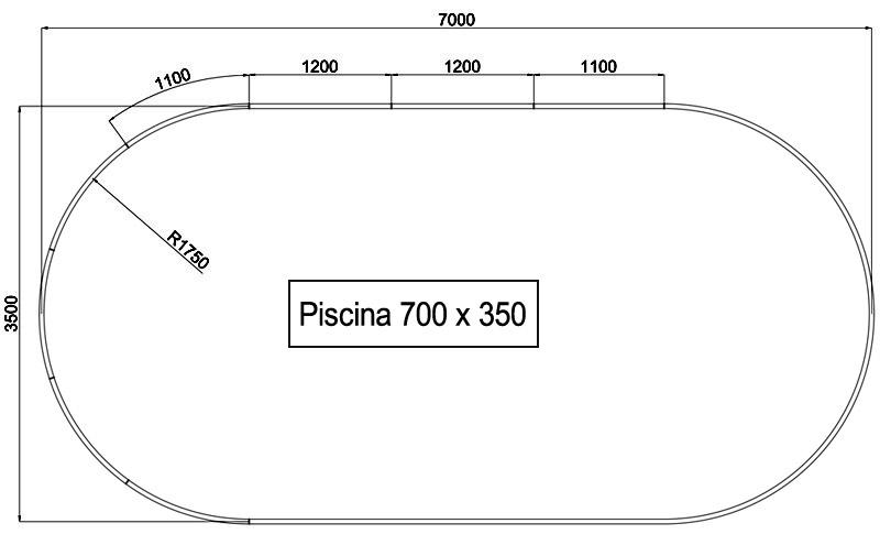 Dimensioni Piscina interrata OLIVIA 700 - 7,00 x 3,50 x h 1,50 m