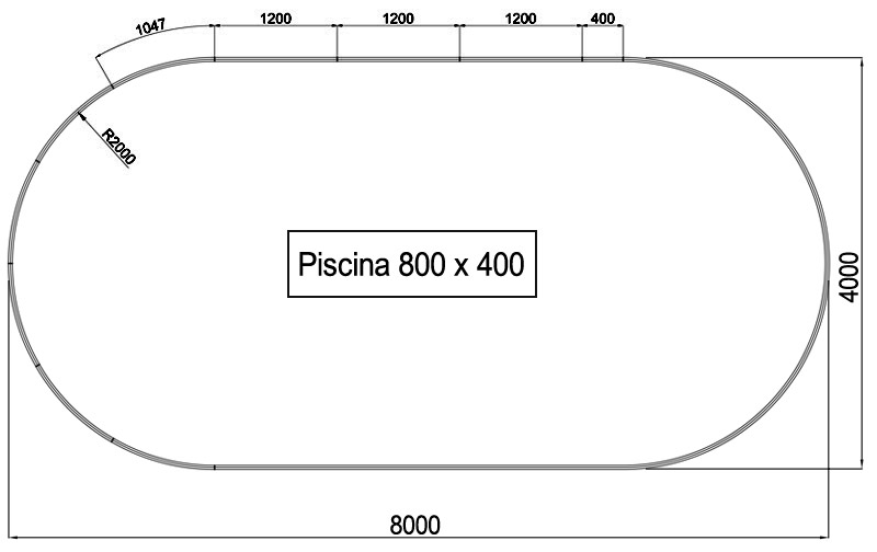 Dimensioni Piscina interrata OLIVIA 800 - 8,00 x 4,00 x h 1,20 m