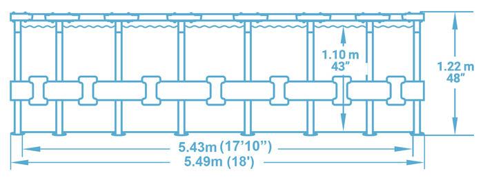 Dimensioni piscina fuori terra Bestway POWER STEEL VISTA