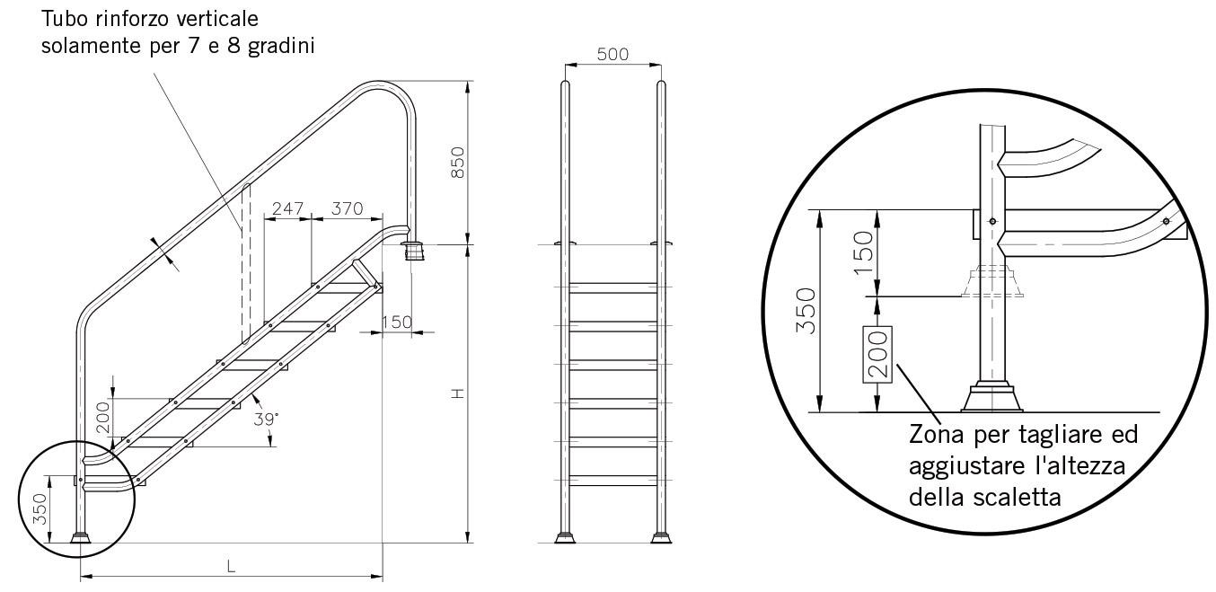 Altezza Gradini Scala scala per accesso piscina per disabili in acciaio inox 316 | bsvillage