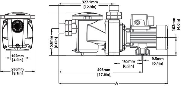 Dimensioni Pompa per filtrazione PENTAIR FREEFLO - da 0.33 a 1.5 HP Monofase
