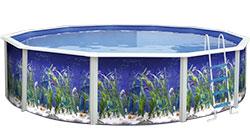 piscina in acciaio decorata fuori terra