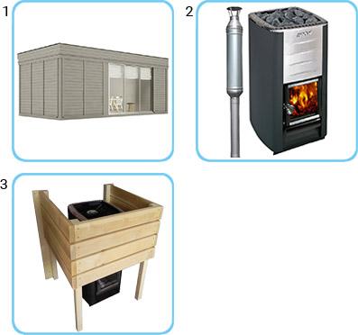 Sauna finlandese da esterno ARES6 KIT STANDARD CON STUFA A LEGNA
