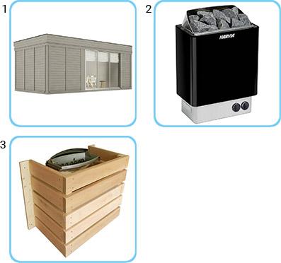 Sauna finlandese da esterno ARES6 KIT STANDARD CON RISCALDATORE ELETTRICO