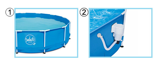 Piscina fuori terra SWING Metal Frame Blue Design KIT BASE