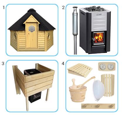 Sauna finlandese tradizionale da esterno - Kit pro con stufa a legna