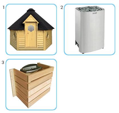 Sauna finlandese tradizionale da esterno - Kit standard con stufa elettrica