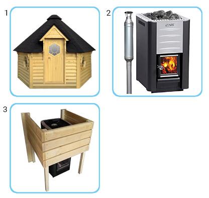 Sauna finlandese tradizionale da esterno - Kit standard con stufa a legna