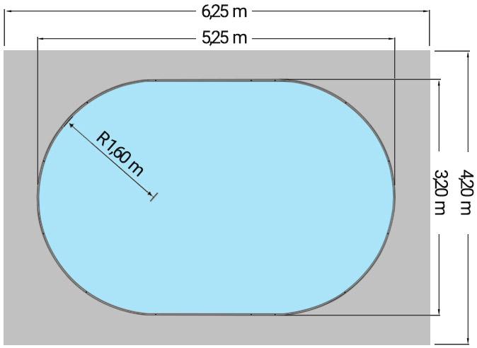 Dimensioni Piscina interrata OLIVIA 525 - 5,25 x 3,20 x h 1,20 m