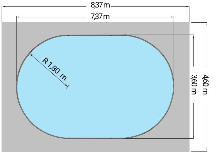 Dimensioni Piscina interrata OLIVIA 737 - 7,37 x 3,60 x h 1,50 m