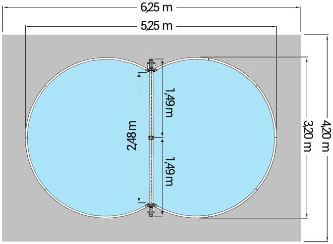 Dimensioni Piscina interrata ISABELLA 525 - 5,25 x 3,20 x h 1,20 m