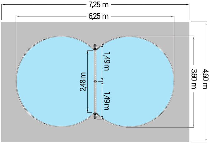 Dimensioni Piscina interrata ISABELLA 625 - 6,25 x 3,60 x h 1,20 m