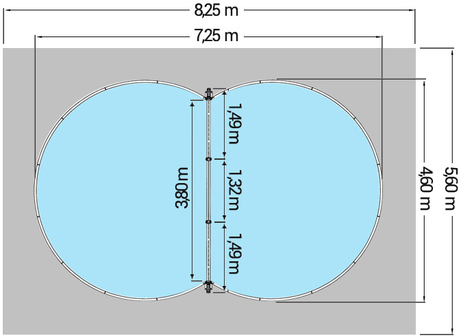 Dimensioni Piscina interrata ISABELLA 725 - 7,25 x 4,60 x h 1,20 m