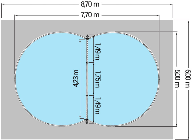 Dimensioni Piscina interrata ISABELLA 770 - 7,70 x 5,00 x h 1,50 m
