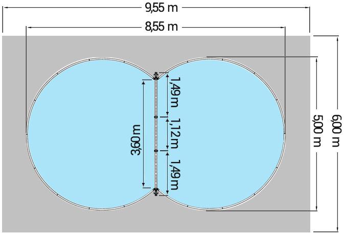 Dimensioni Piscina interrata ISABELLA 855 - 8,55 x 5,00 x h 1,50 m