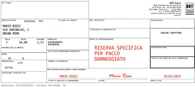 Bollettino di consegna corriere Bartolini con RISERVA SPECIFICA