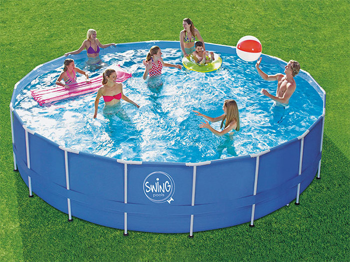 Piscina fuori terra Swing Metal Frame Blue Design