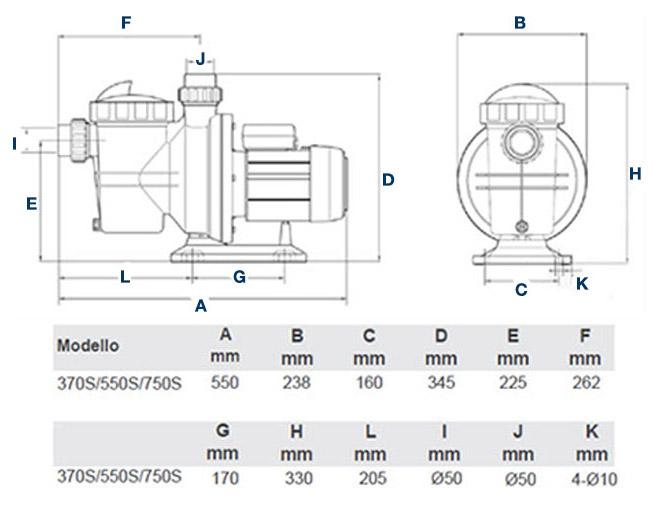 Pompa Piscina per filtrazione ENGLAND Raccordi Ø 5 cm