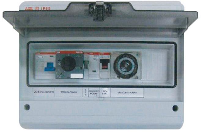 Quadro elettrico per filtrazione skimmer ad una pompa