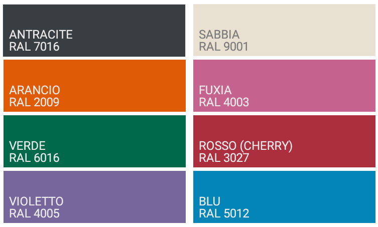 Colori docce alluminio by Arkema
