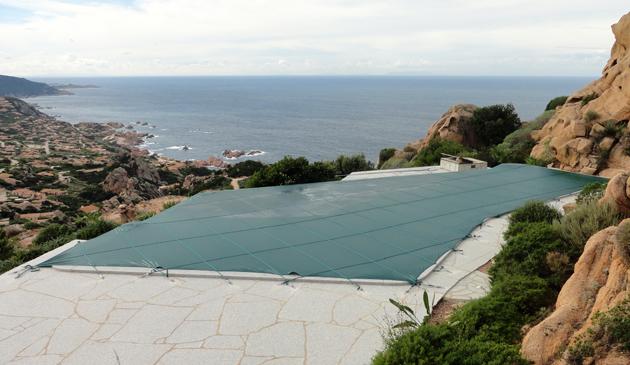 Copertura invernale filtrante sagomata per piscina