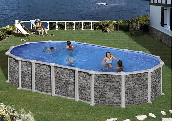 Piscina gre santorini 730 x 375 cm h 132 fuori terra - Tappeto per piscina fuori terra ...
