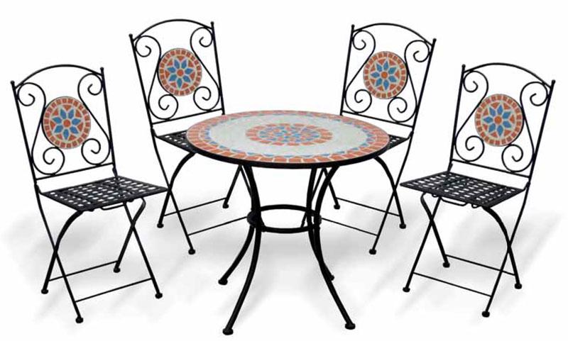 Set bistrot da giardino con mosaico TAORMINA, con 4 sedie