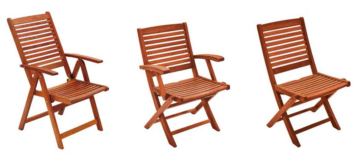 Sedia e poltrona pieghevole in legno di keruing MARANTA