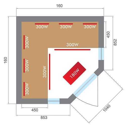 Dimensioni sauna a infrarossi, disegno tecnico