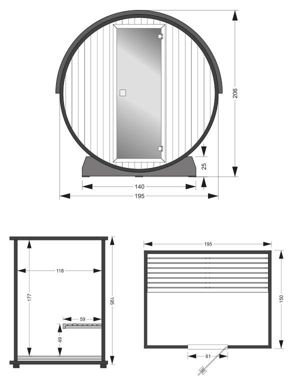 Sauna infrarossi Asgard - dimensioni