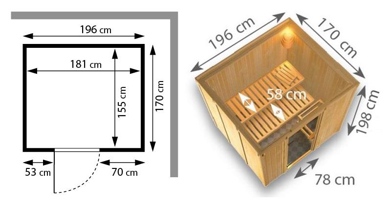 Sauna finlandese tradizionale SODIN misure