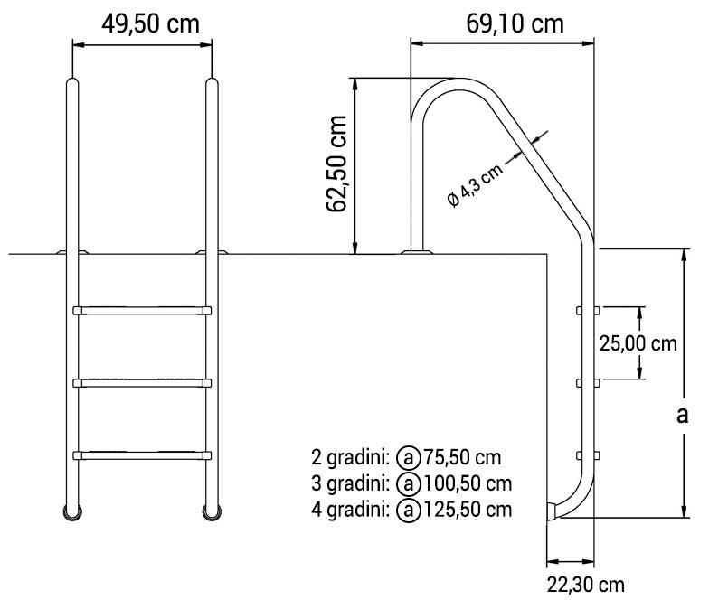 Scaletta per piscina interrata standard