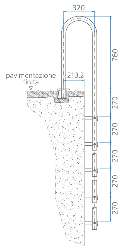 Scaletta per piscina interrata slim
