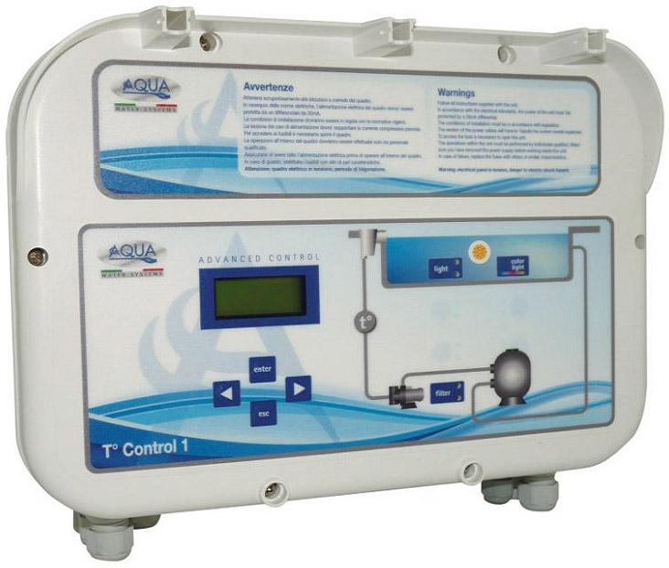 Quadro elettrico T-CONTROL 2 con trasformatore fari per piscine a bordo sfioro