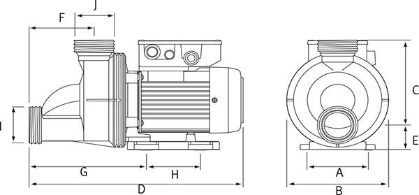 Schema Pompa per idromassaggio TIPER1 - da 0,50 a 1 HP Raccordi 5,70 cm