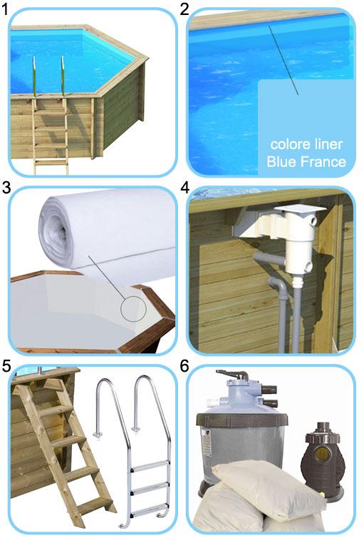 Kit accessori per piscina fuori terra in legno Ecowood