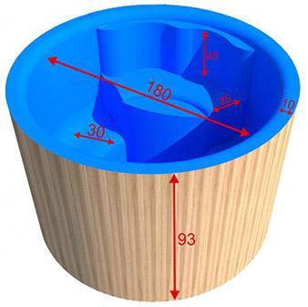 Dimensioni tinozza in legno e polipropilene MONS 180 cm