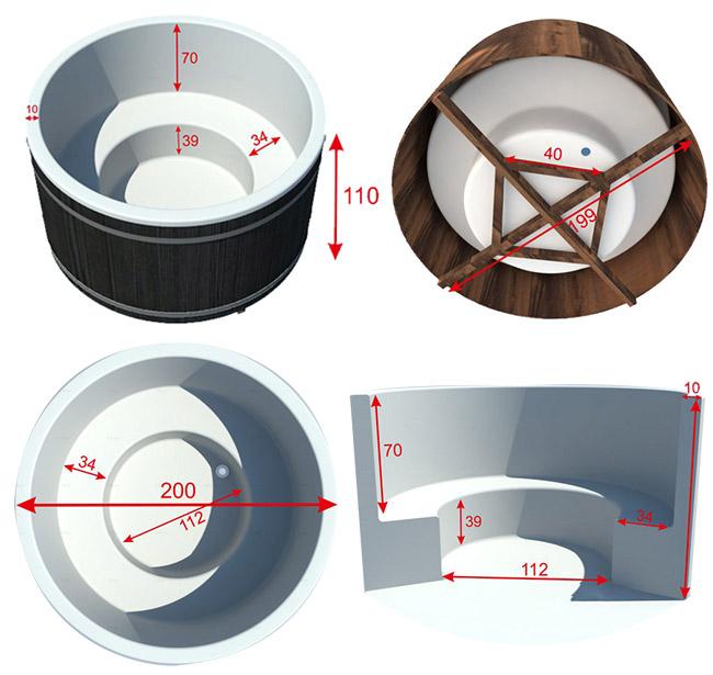 Dimensioni tinozza in legno e polipropilene RIBE 180 cm