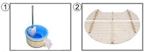 Tinozza in legno e vetroresina RIBE kit copertura
